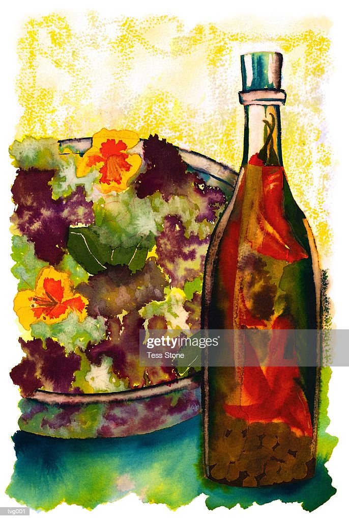 Tossed Salad & Vinaigrette : Stock Illustration