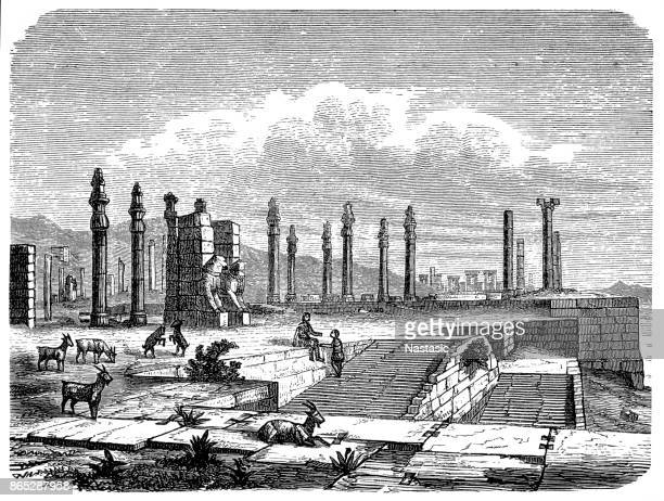 total overview of the ruins of the persepolis - iranian culture stock illustrations, clip art, cartoons, & icons