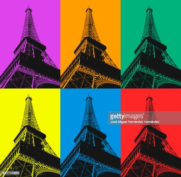 tour eiffel pop art style - france stock illustrations