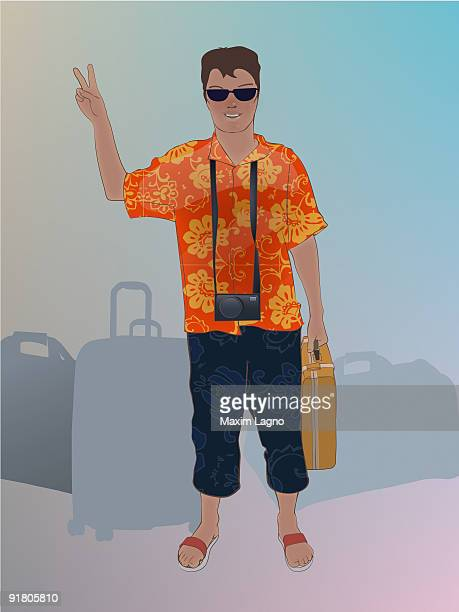 A tourist in vacation clothes with baggage
