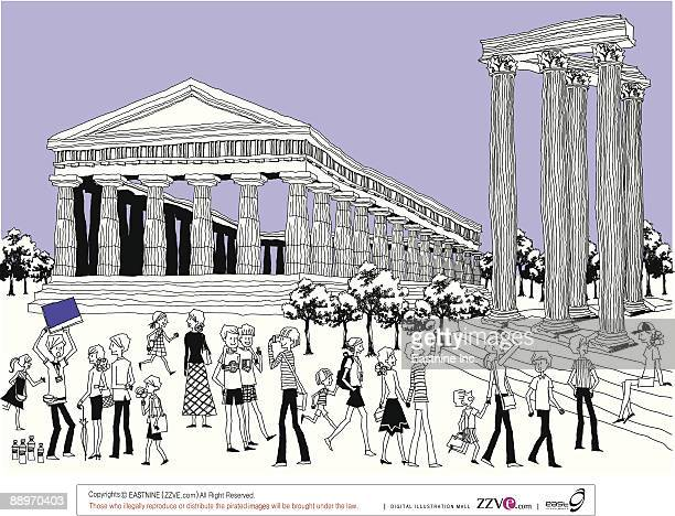 tourists by ruined columns - pediment stock illustrations, clip art, cartoons, & icons