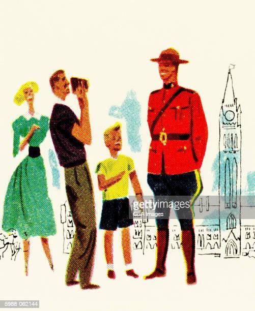 tourists photographing mountie - uniform stock illustrations