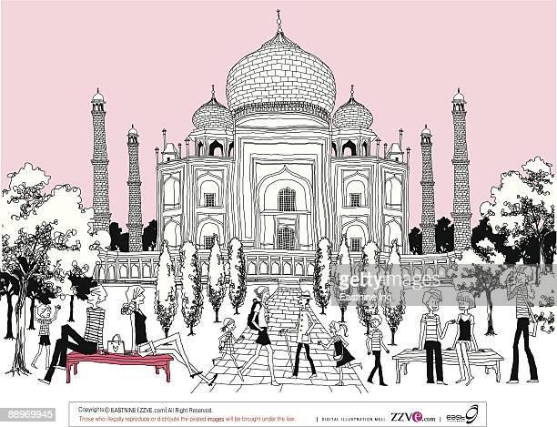 ilustrações, clipart, desenhos animados e ícones de tourists relaxing by taj mahal - cúpula estilo russo