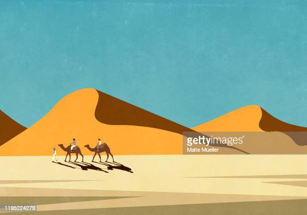 tourists riding camels in sunny, remote desert landscape - friendship stock illustrations