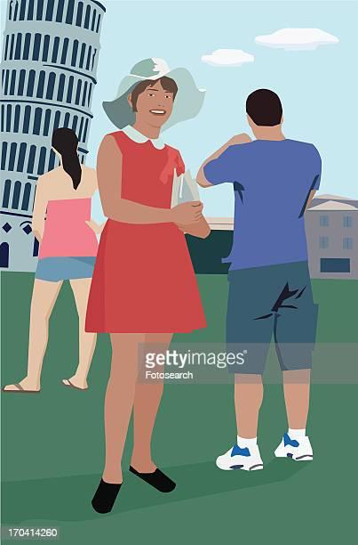 ilustraciones, imágenes clip art, dibujos animados e iconos de stock de tourists standing at leaning tower of pisa - mujeres de mediana edad