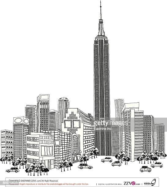 tower amid buildings - spire stock illustrations, clip art, cartoons, & icons