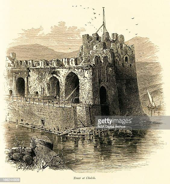 tower at chalcis, greece (antique wood engraving) - classical greek style stock illustrations
