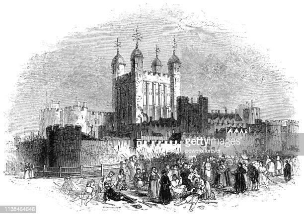ロンドンの塔のタワーヒル、イングランド-16 世紀 - 16世紀のスタイル点のイラスト素材/クリップアート素材/マンガ素材/アイコン素材