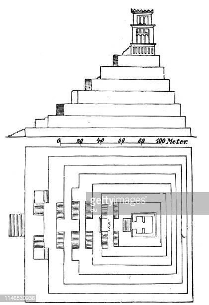 tower of ancient babylon - ancient babylon stock illustrations