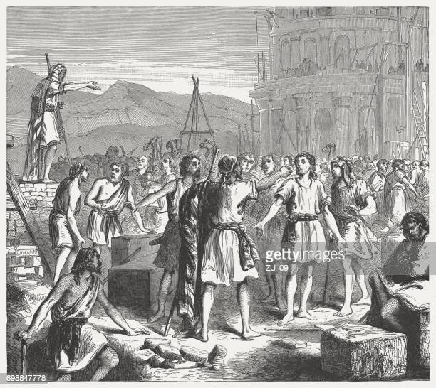tower of babel and the confusion of languages (genesis 11) - ancient babylon stock illustrations