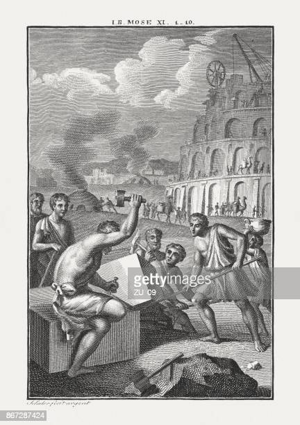 tower of babel (genesis 11), copperplate engraving, published c.1850 - ancient babylon stock illustrations