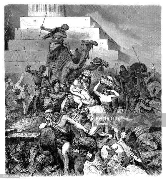 tower of babel (genesis 11, 8) - ancient babylon stock illustrations