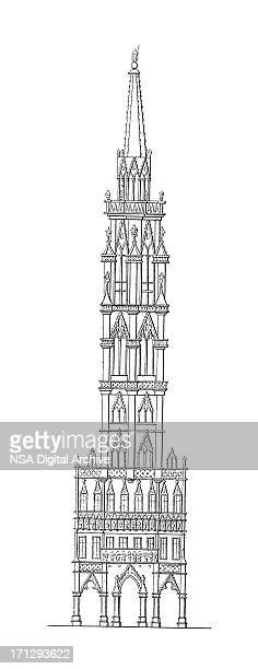 tower of brussels town hall, belgium | antique architectural illustrations - spire stock illustrations, clip art, cartoons, & icons