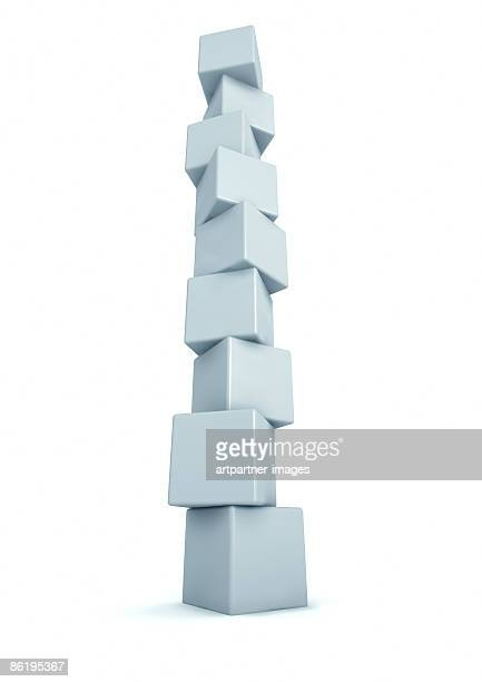 tower of cubes - white background - low angle view stock illustrations
