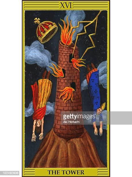 tower tarot card - tower stock illustrations