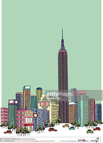 ilustraciones, imágenes clip art, dibujos animados e iconos de stock de tower with buildings against clear sky - spire