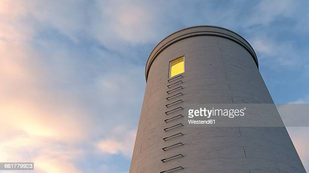 Tower with illuminated window, 3D rendering