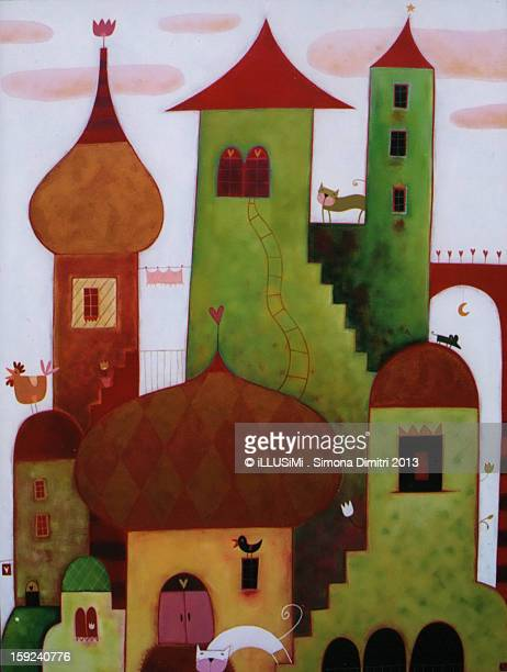 towers in the clouds - simona dimitri stock-grafiken, -clipart, -cartoons und -symbole