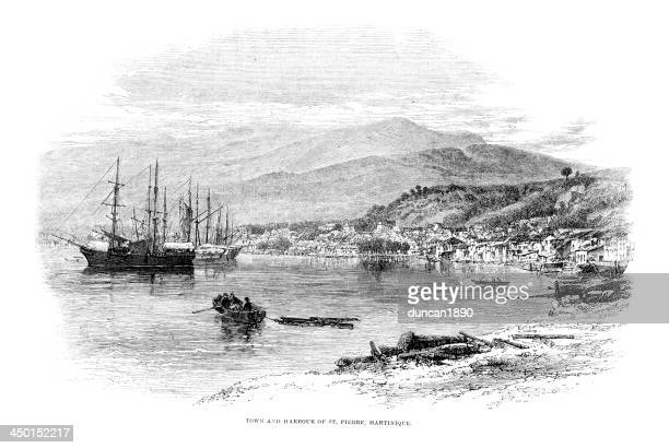 town and harbour of st pierre - martinique stock illustrations