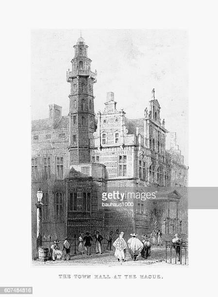市庁舎、ハーグ・ロッテルダム、オランダ、1887年頃 - 16世紀のスタイル点のイラスト素材/クリップアート素材/マンガ素材/アイコン素材