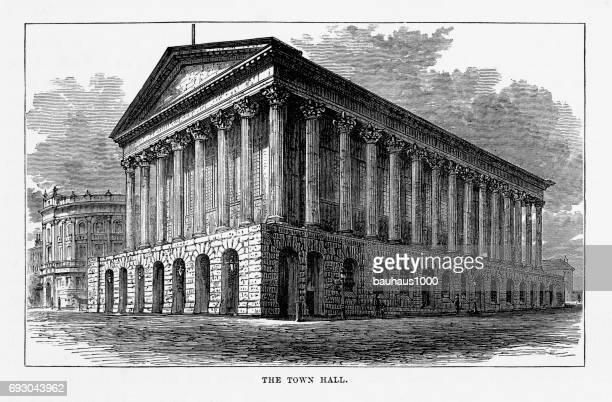 Town Hall, Birmingham, Midlands, England Victorian Engraving, 1840
