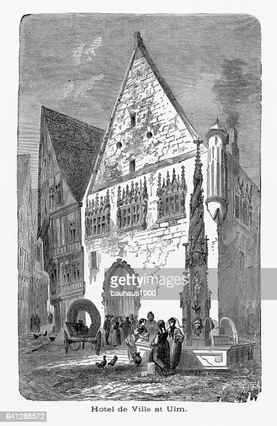 town hall, hotel de ville, ulm, germany circa 1887 - spire stock illustrations, clip art, cartoons, & icons