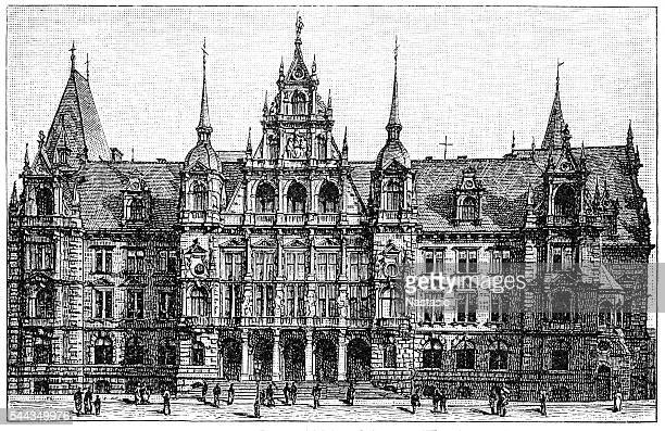 town hall in wiesbaden - spire stock illustrations, clip art, cartoons, & icons