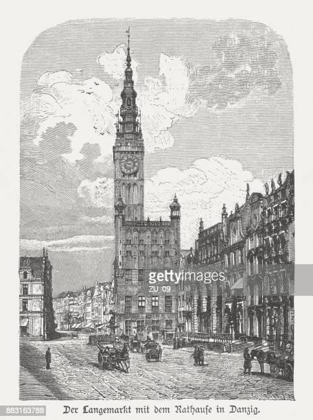town hall of gdansk (danzig), poland, wood engraving, published 1884 - gdansk stock illustrations