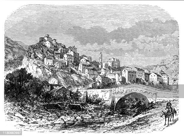 town of corte, corsica france - corsica stock illustrations, clip art, cartoons, & icons