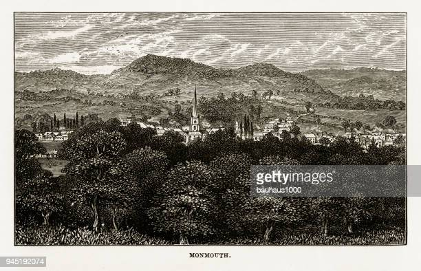 town of monmouth, herefordshire, england victorian engraving, 1840 - spire stock illustrations, clip art, cartoons, & icons