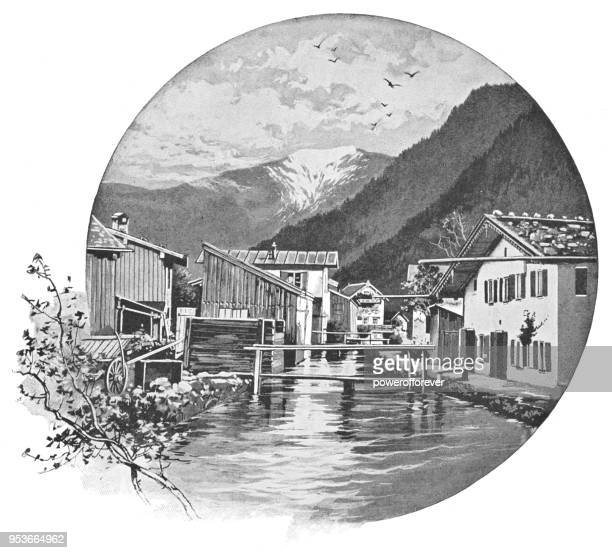 Townscape of Oberammergau, Germany - 19th Century