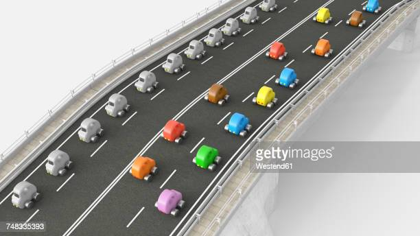 Toy car traffic on motorway, 3d rendering