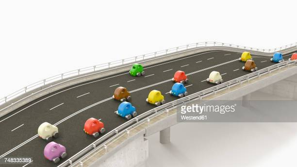 toy cars on motorway, 3d rendering - traffic stock illustrations