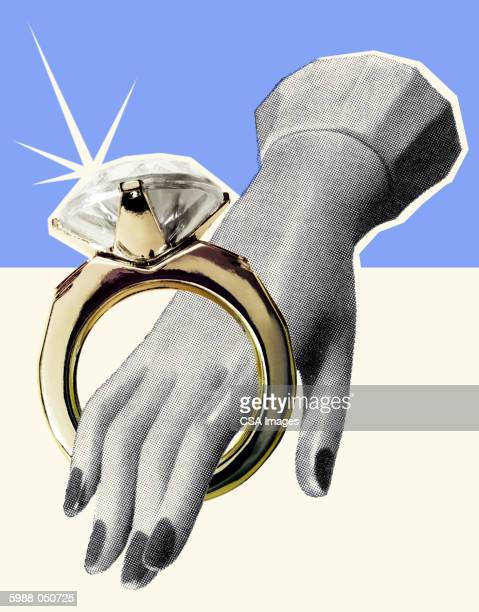 toy hand in wedding ring - toy stock illustrations