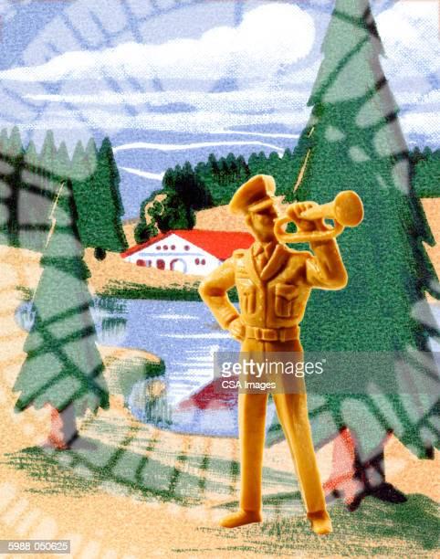 toy military bugler - military uniform stock illustrations