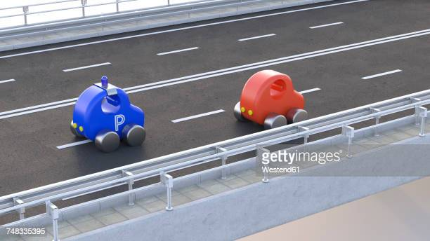 Toy police car stopping car on motorway, 3d rendering