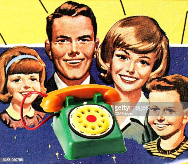 toy telephone, smiling family - family stock illustrations