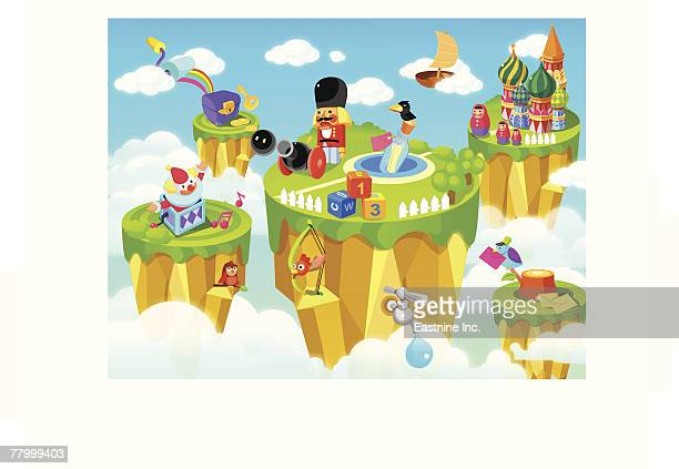 toys near a citadel - onion dome stock illustrations, clip art, cartoons, & icons