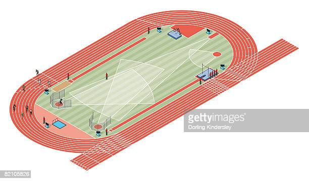 track and field arena - discus stock illustrations, clip art, cartoons, & icons