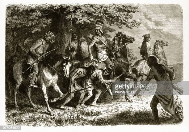 tracking us soldiers, american indians engraving, 1872 - 19th century stock illustrations