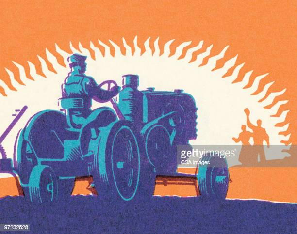 tractor - sunset stock illustrations
