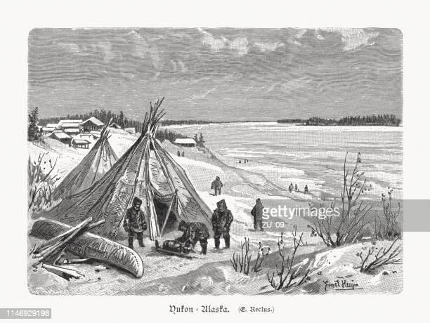 handelsstation am yukon river in alaska, usa, 1897 - inuit stock-grafiken, -clipart, -cartoons und -symbole