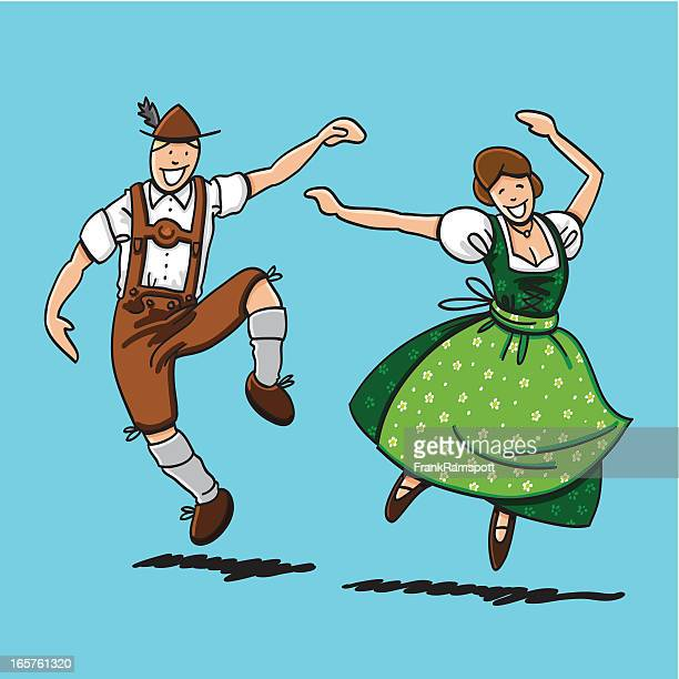 traditional bavarian couple dancing - traditional clothing stock illustrations