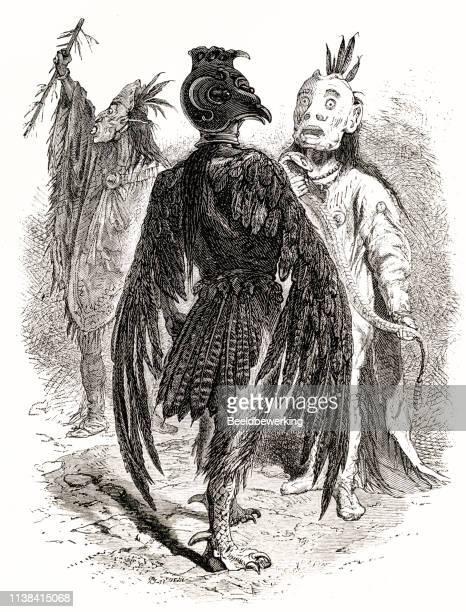 Traditional bird like costume and mask