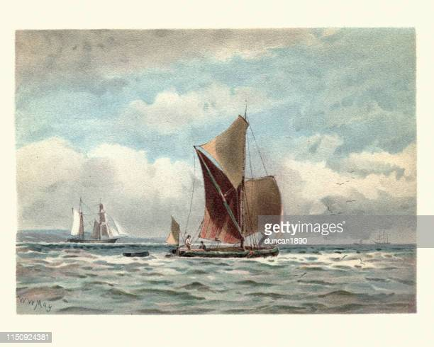 traditional boats on the thames estuary, victorian, 19th century - tradition stock illustrations