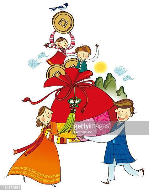 ilustraciones, imágenes clip art, dibujos animados e iconos de stock de traditional chinese talisman - cultura coreana