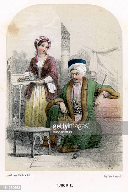 traditional costume of turkey - ottoman empire stock illustrations
