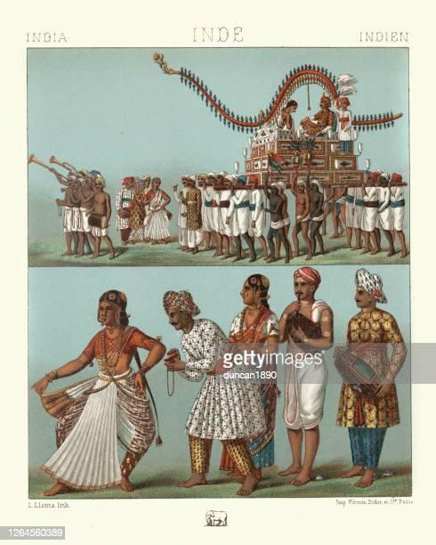 ilustraciones, imágenes clip art, dibujos animados e iconos de stock de trajes tradicionales india, coche de matrimonio, músicos, gaita, bailarina - etnia del subcontinente indio