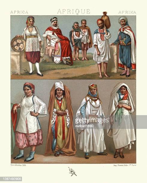 illustrations, cliparts, dessins animés et icônes de costumes traditionnels, afrique du nord, femmes maures algériennes et tunisiennes - algeria archive