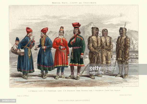 traditional costumes of lapps and eskimos, 19th century - traditional clothing stock illustrations